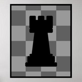 Grajo gris del tablero de ajedrez póster