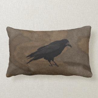 Grajo negro Corvid británico y fondo rústico Almohadas