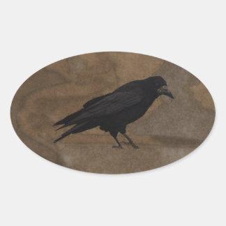 Grajo negro Corvid británico y fondo rústico Pegatina Ovalada
