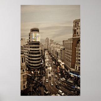 Gram Via de Madrid en España Póster
