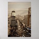 Gram Via of Madrid in Spain Posters