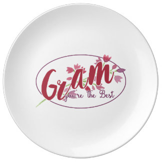 Gram You're The Best Floral1 Dinner Plate