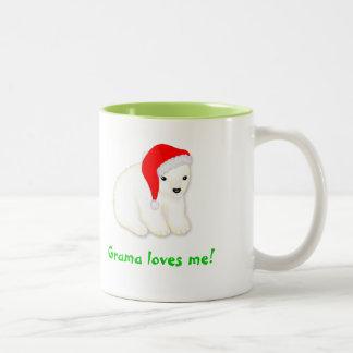 Grama me ama taza del navidad con el oso polar