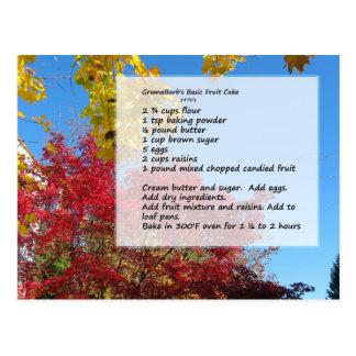 GramaBarb's Fruit Cake Recipe Postcard
