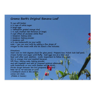 GramaBarb's Original Banana Loaf Postcard