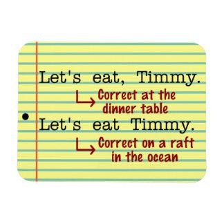 Gramática divertida de la puntuación imanes de vinilo