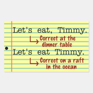 Gramática divertida de la puntuación pegatina rectangular