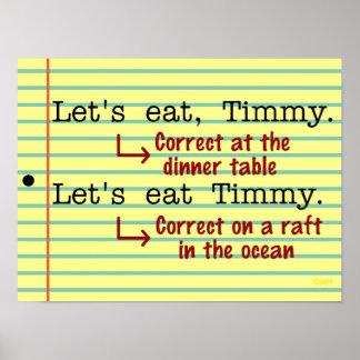 Gramática divertida de la puntuación póster