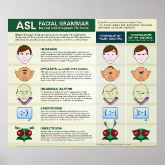 Gramática facial del ASL para las diversas formas Póster