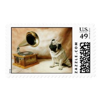 Grammaphone Pug Dog Postage