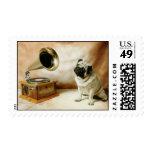 Grammaphone Pug Dog Stamps