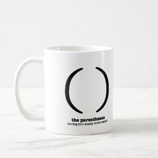 Grammar Coffee Mug Parentheses Punctuation Humor