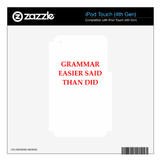 GRAMMAR DECALS FOR iPod TOUCH 4G