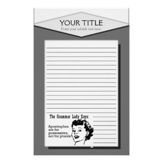 Grammar Lady Apostrophes Lined Stationery