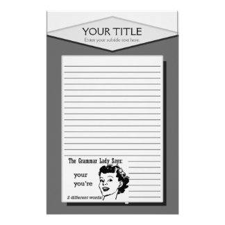 Grammar Lady You're Your Lined Stationery