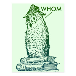Grammar Owl Says Whom (green) Postcard