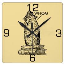 Grammar Owl Says Whom Square Wall Clock