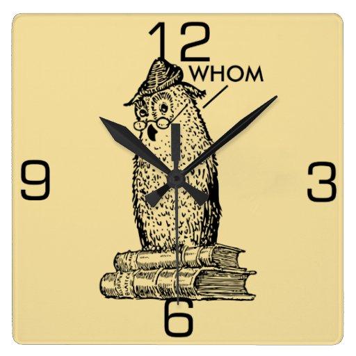 Grammar Owl Says Whom Square Wall Clocks