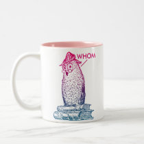 Grammar Owl Says Whom Two-Tone Coffee Mug