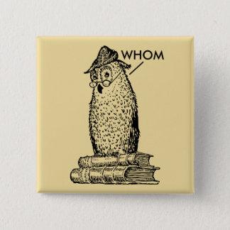 Grammar Owl Who/Whom Button