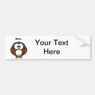Grammar Owl Whom Cartoon Bumper Sticker