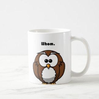 Grammar Owl Whom Cartoon Classic White Coffee Mug