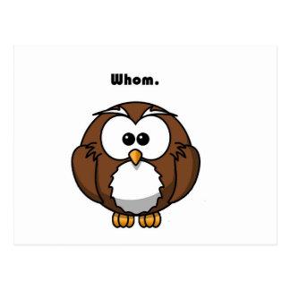 Grammar Owl Whom Cartoon Postcard