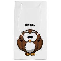 Grammar Owl Whom Cartoon Small Gift Bag