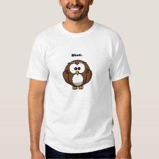 Grammar Owl Whom Cartoon Tee Shirt