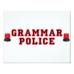 "Grammar Police 4.25"" X 5.5"" Invitation Card"