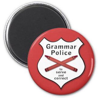 Grammar Police Badge 2 Inch Round Magnet