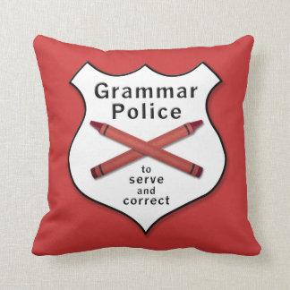 Grammar Police Badge Throw Pillow