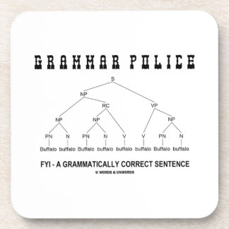 Grammar Police (Buffalo 8 Times Correct Sentence) Beverage Coasters