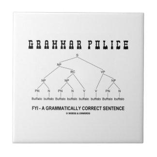 Grammar Police (Buffalo 8 Times Correct Sentence) Small Square Tile