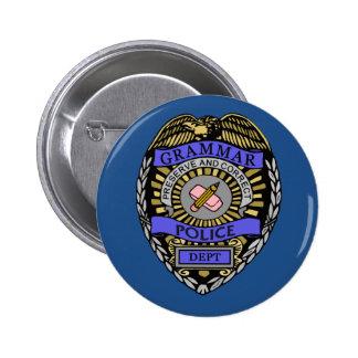 Grammar Police Dept Badge Pencil Eraser Button
