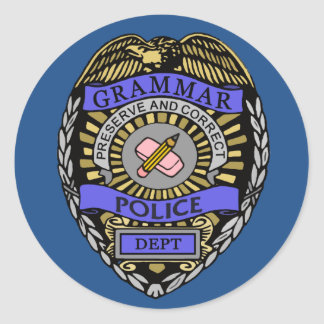 Grammar Police Dept Badge Pencil Eraser Classic Round Sticker