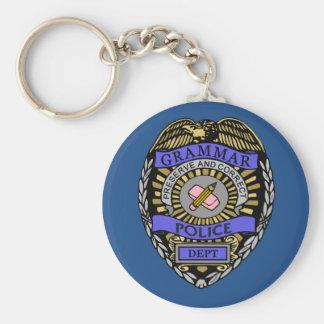 Grammar Police Dept Badge Pencil Eraser Keychain