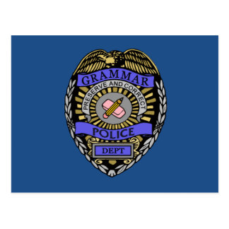 Grammar Police Dept Badge Pencil Eraser Postcard