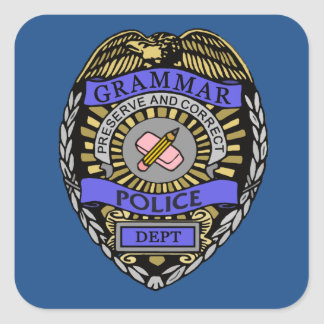 Grammar Police Dept Badge Pencil Eraser Square Sticker