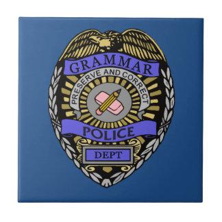 Grammar Police Dept Badge Pencil Eraser Small Square Tile