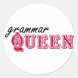 Grammar Queen Classic Round Sticker