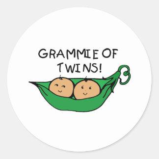 Grammie of Twins Pod Classic Round Sticker