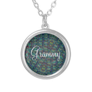 Grammy Blue Green Pattern Silver Plated Necklace