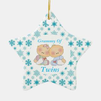 Grammy Grandma Of Twins Star Ornament Gift Ceramic Star Ornament
