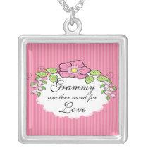 Grammy Love  Grandparent Necklace Floral Frame