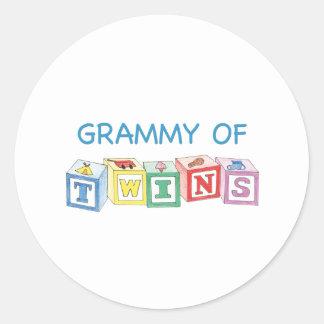 Grammy of Twins Blocks Classic Round Sticker