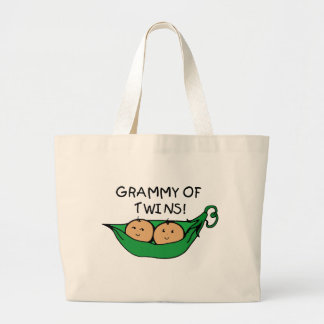 Grammy of Twins Pod Large Tote Bag