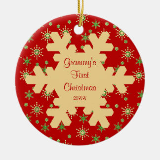 Grammy s First Christmas Red Snowflake Ornament