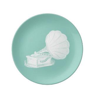 Gramófono blanco del verde de mar del fonógrafo plato de cerámica