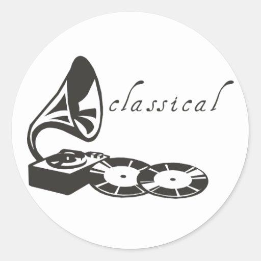 Gramófono clásico pegatina redonda